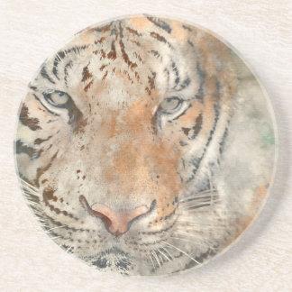 Tiger nah oben im Watercolor Untersetzer