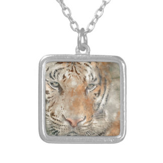 Tiger nah oben im Watercolor Versilberte Kette