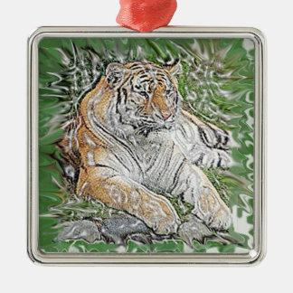 Tiger Quadratisches Silberfarbenes Ornament