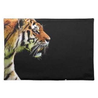 Tiger-Raubpelz-schöne gefährliche Katze Stofftischset