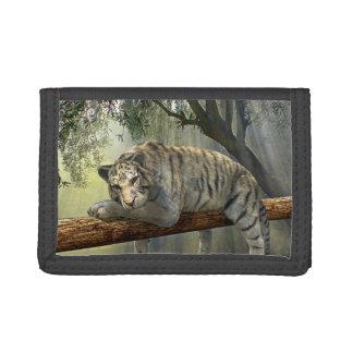 Tiger-schwarze dreifachgefaltete Nylongeldbörse
