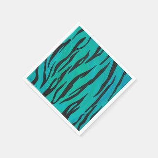 Tiger-schwarzer und aquamariner Druck Papierserviette