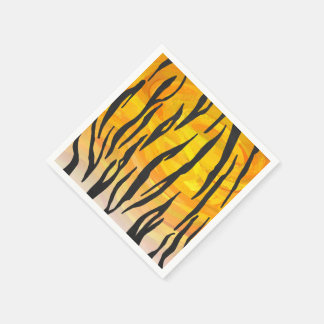 Tiger-schwarzer und orange Druck Serviette