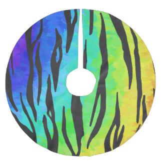 Tiger-Schwarzes und Regenbogen-Material Polyester Weihnachtsbaumdecke