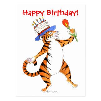 Tiger singt alles Gute zum Geburtstag - Postkarte