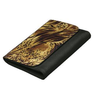 Tiger-Streifen-Safari-Druck-Leder-Geldbörse