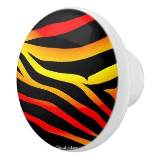 Tiger-Streifen-Tierdruck-Muster-Türknauf Keramikknauf