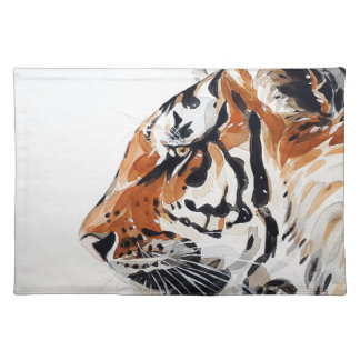 Tiger-Tiernatur-Malerei-Aquarell-Profil Stofftischset