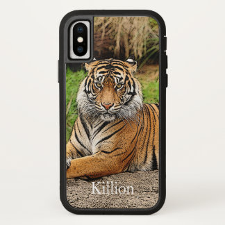 Tiger und Name iPhone X Hülle
