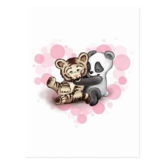Tiger und Panda Postkarte