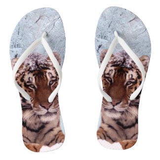 Tiger und Schnee Flip Flops