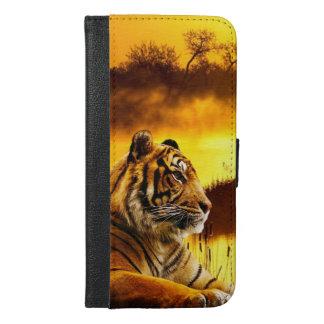 Tiger und Sonnenuntergang iPhone 6/6s Plus Geldbeutel Hülle