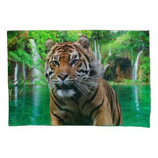 Tiger und Wasserfall Kissen Bezug