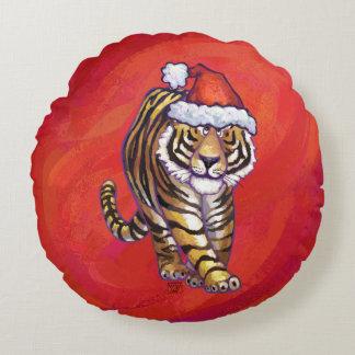 Tiger-Weihnachten auf Rot Rundes Kissen