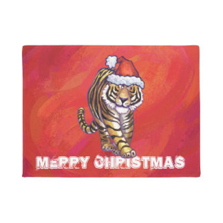 Tiger-Weihnachten auf Rot Türmatte