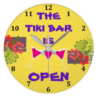 Tiki Bar ist offene tropische Große Wanduhr