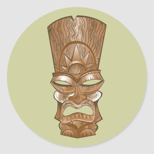 Tiki Maske mask Runder Aufkleber