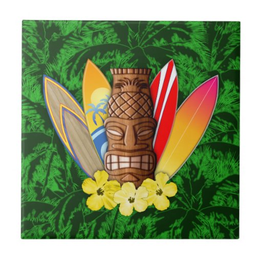 Tiki Maske und Surfbretter Fliese