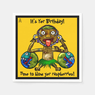 Tiki Party-lustiger Entwurf auf dem Gelb Serviette