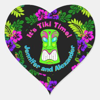 Tiki Zeit-Herz-geformter Aufkleber