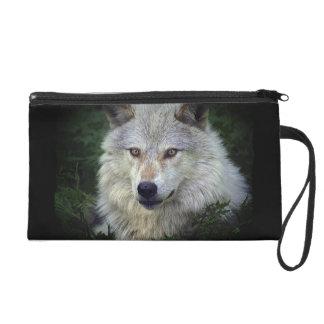 Timberwolf-grauer Wolf-wildes Wristlet Handtasche