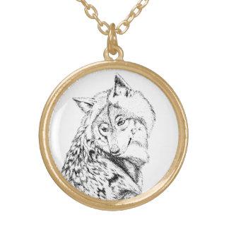 Timberwolf-hängende Halskette, Schwarzweiss Halskette Mit Rundem Anhänger