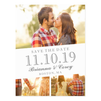 Timeless 3-Foto Save the Date Postkarte