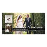 Timeless Chic-Hochzeit danken Ihnen die drei Foto- Individuelle Foto Karte