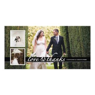 Timeless Chic-Hochzeit danken Ihnen die drei Karte