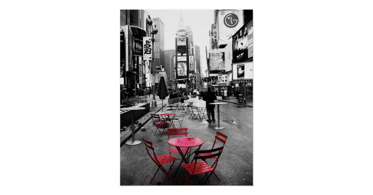 times square schwarz wei u rot poster zazzle. Black Bedroom Furniture Sets. Home Design Ideas