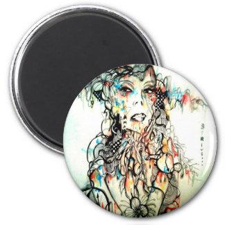Tinte, die ernste Watercolorporträtkunst zeichnet Runder Magnet 5,1 Cm