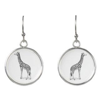Tinte gezeichnete Giraffe Ohrringe
