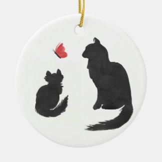 Tinten-Miezekatze Rundes Keramik Ornament