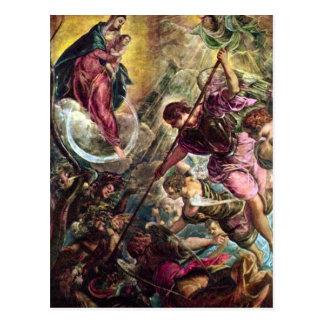 Tintoretto - Kampf des Erzengels Michael mit Postkarte