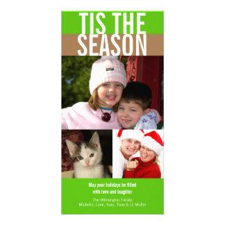 Tis der Jahreszeit mutige grüne braune Weihnachtsg Individuelle Photo Karten
