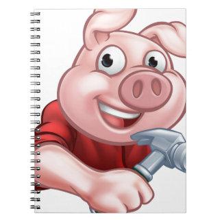 Tischler-Schwein-Cartoon-Charakter Spiral Notizblock