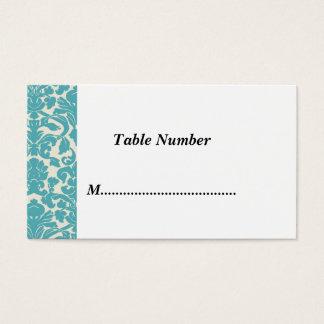 Tischnummer-aquamariner Damast Visitenkarten