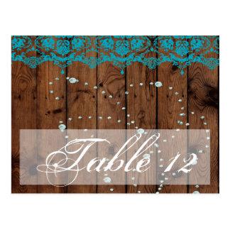 Tischnummer-Karte Barnwood Türkis-Damast Diamon Postkarte