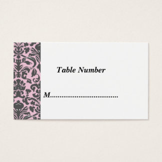 Tischnummer-klassischer rosa Damast Visitenkarten