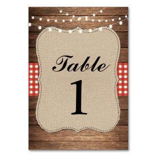 Tischnummern, die hölzerne rote rustikale karte