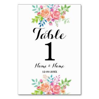 Tischnummern, die Wasserfarbe-mit Blumenelegantes Karte