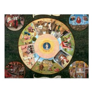 Tischplatte der sieben tödlichen Sünden Postkarte