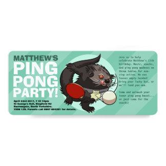 TischtennisBearcatPing Pong Binturong Cartoon 10,2 X 23,5 Cm Einladungskarte