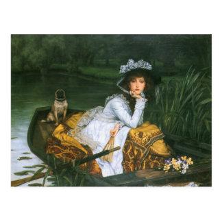 Tissot: Junge Dame in einem Boot Postkarte