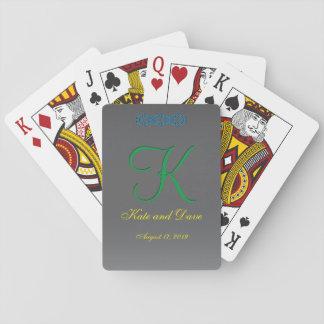 Titandatums-gelber Text des monogramm-3d Spielkarten