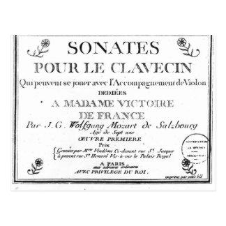 Titelblatt für 'Sonates gießen le Clavecin' Postkarte