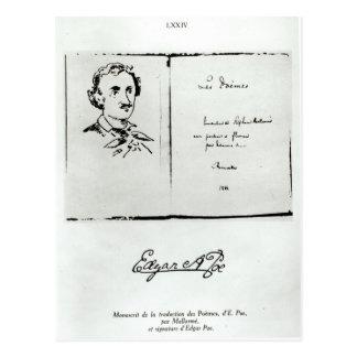 """Titelblatt von """"Les Poemes"""" durch Edgar Allan Poe Postkarte"""