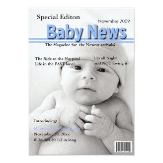 Titelseiten-Geburts-Mitteilung (blau) 12,7 X 17,8 Cm Einladungskarte