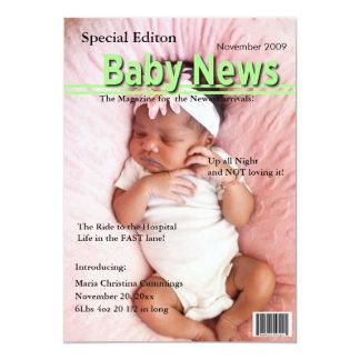 Titelseiten-Geburts-Mitteilung (Grün) 12,7 X 17,8 Cm Einladungskarte
