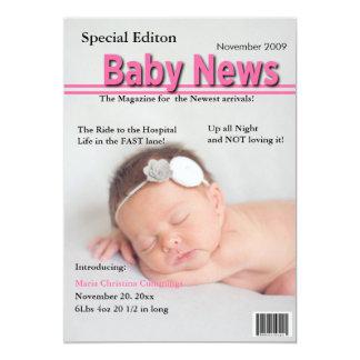 Titelseiten-Geburts-Mitteilung (Rosa) 12,7 X 17,8 Cm Einladungskarte